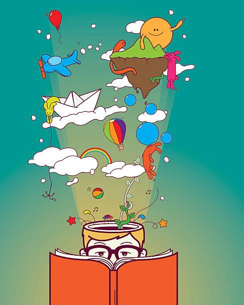 stockillustraties, clipart, cartoons en iconen met creative boy reading and dreaming - verbeelding