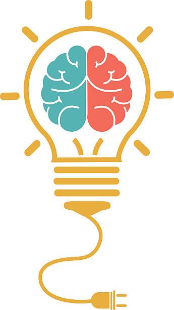 Creative brain and light bulb vector art illustration