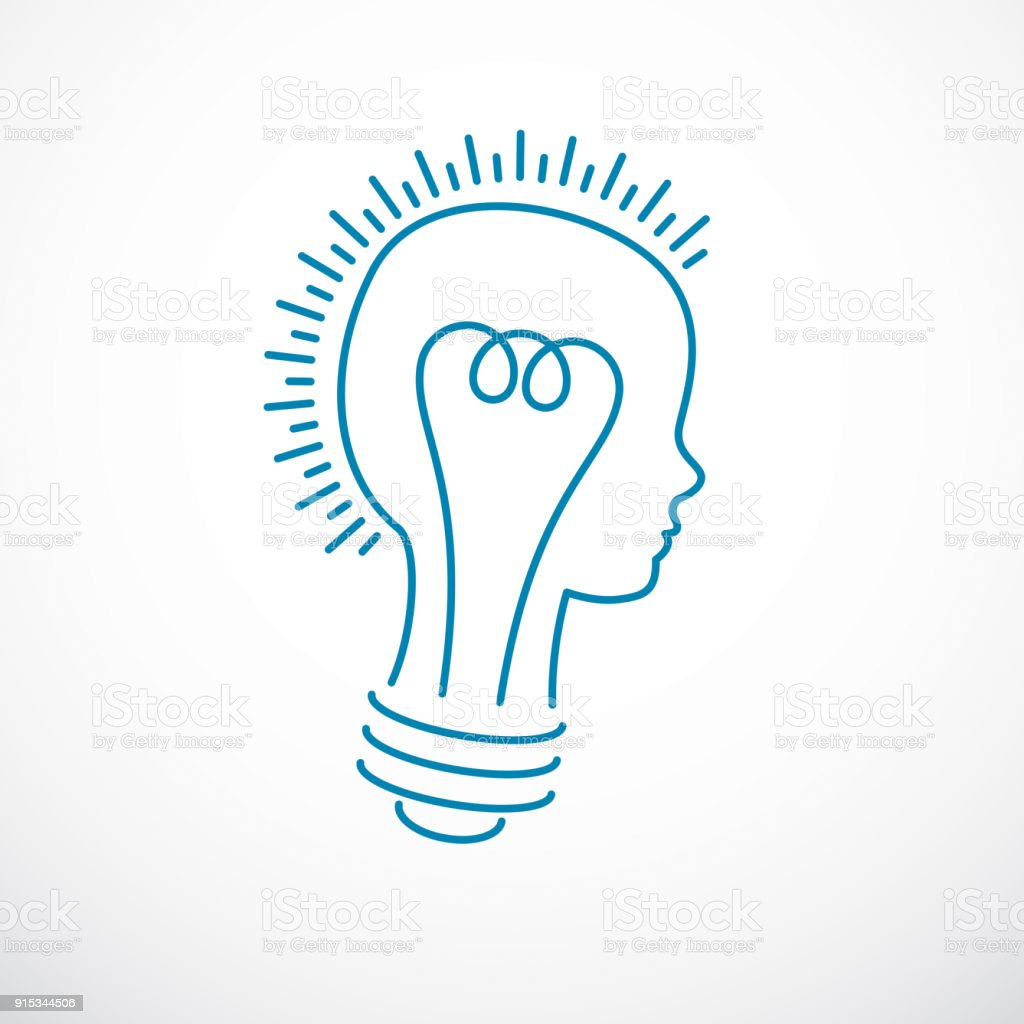 Creative Brain Concept Intelligent Person Vector Symbol Light Bulb In A Shape Of Child