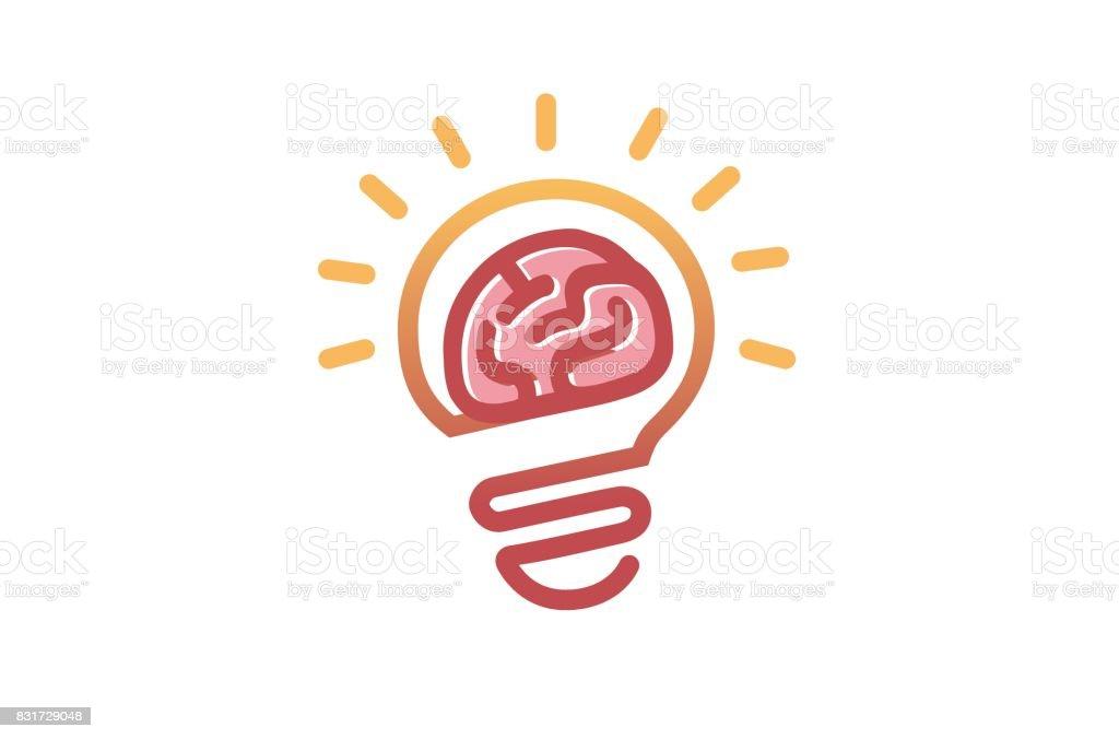Creative Brain Electric Lamp Symbol Design Royalty Free Stock Vector Art