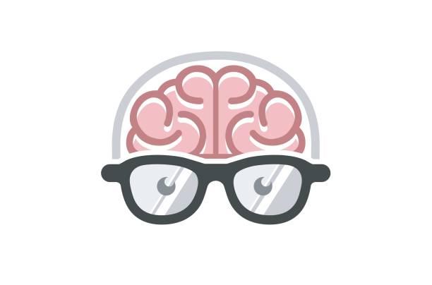 kreative gehirnhälfte geek symbol design - nerd stock-grafiken, -clipart, -cartoons und -symbole