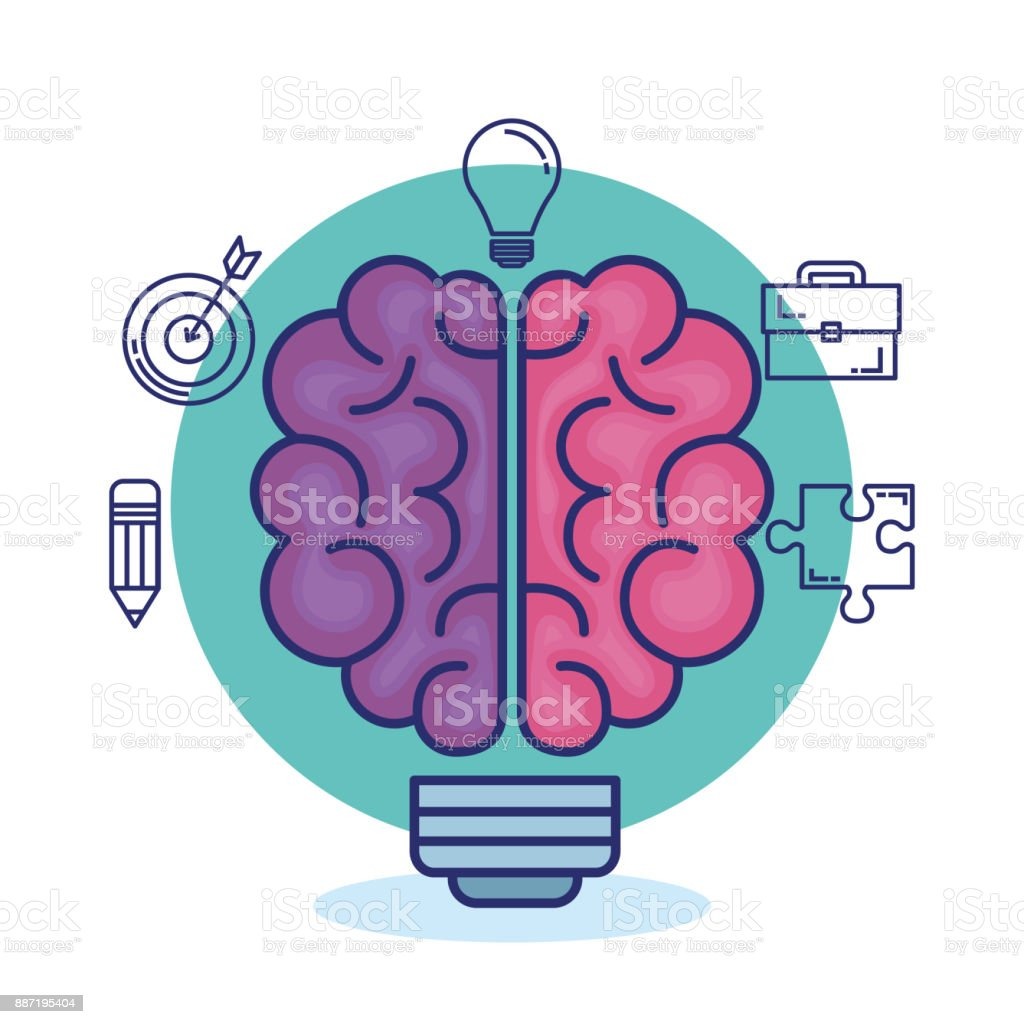 creative brain set icons vector art illustration