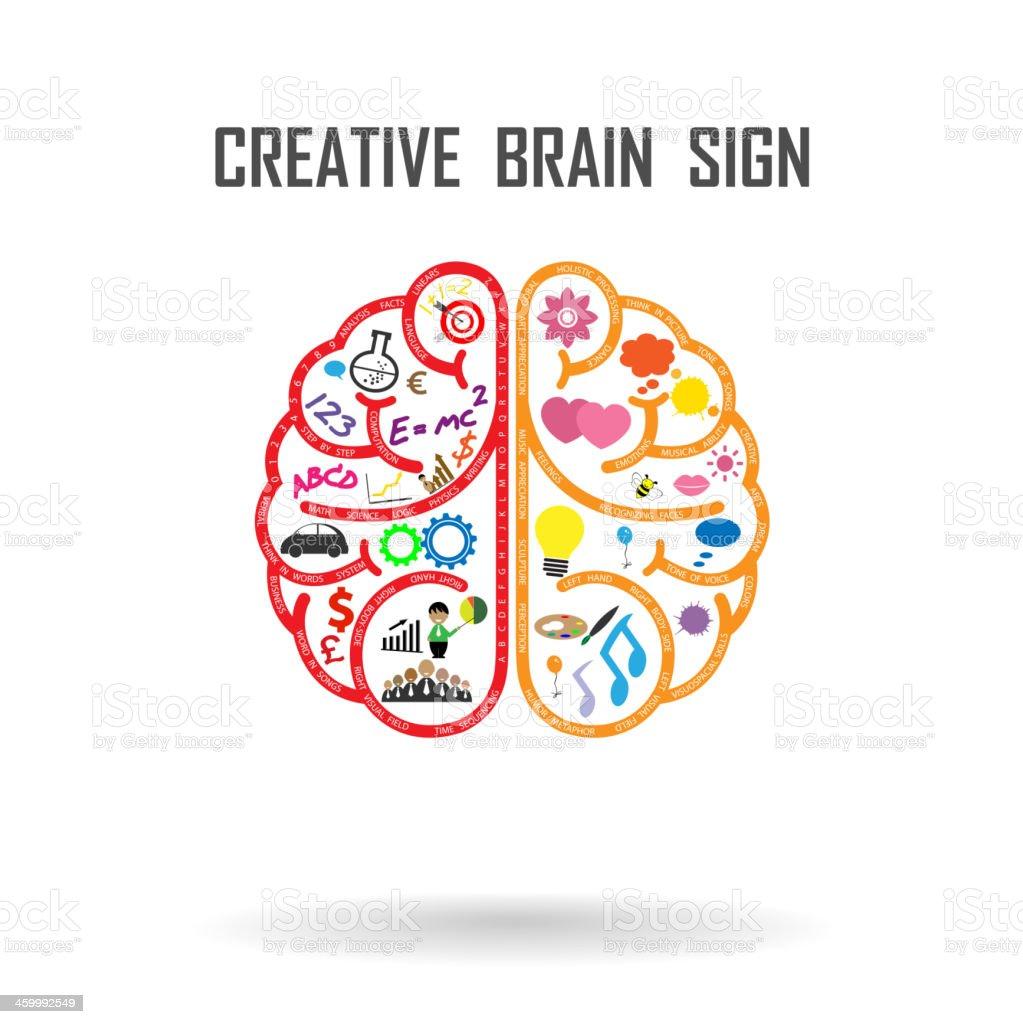 creative brain sign vector art illustration