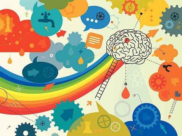 kreative gehirn - farbwahrnehmung stock-grafiken, -clipart, -cartoons und -symbole