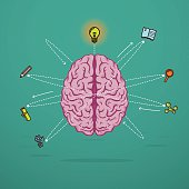 Creative brain illustration with crativity icons as neurons. Eps10. Contains transparent objects.