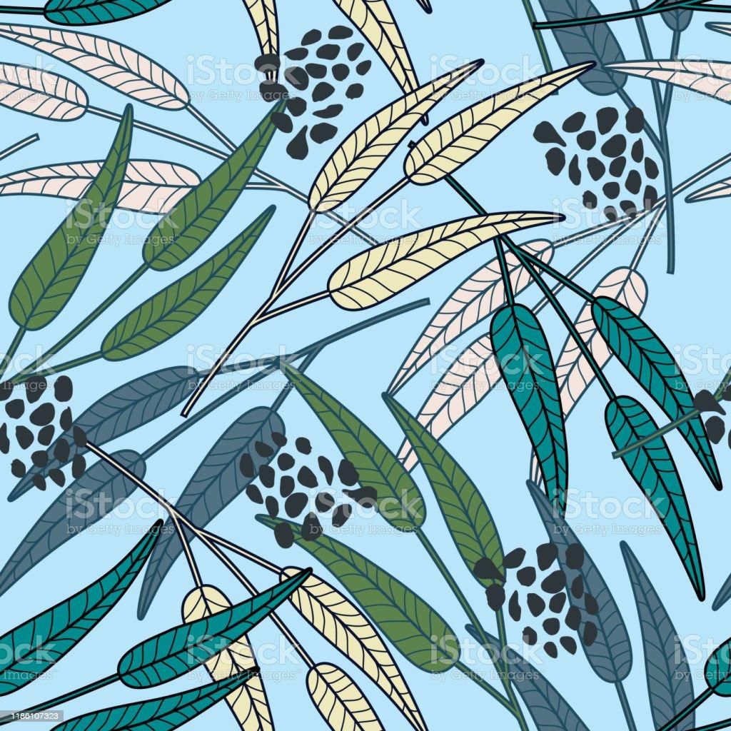 創造的な枝の葉の壁紙森は水色の背景にシームレスなパターンを残します