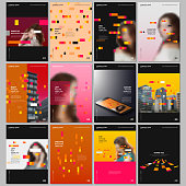 Creative brochure templates with colorful elements, rectangles, gradient backgrounds. Covers design templates for flyer, leaflet, brochure, report, presentation, advertising magazine