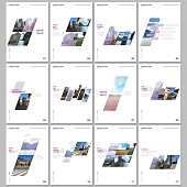 Creative brochure templates with colorful gradient geometric background. Covers design templates for flyer, leaflet, brochure, report, presentation, advertising, magazine