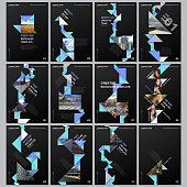 Creative brochure templates with colorful triangle origami paper elements on black background. Covers design templates for flyer, leaflet, brochure, report, presentation, advertising, magazine