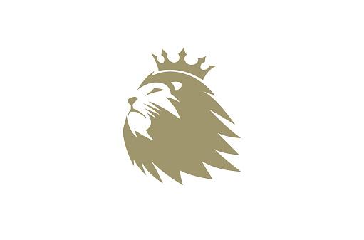 Creative Brown Lion Head Crown Logo