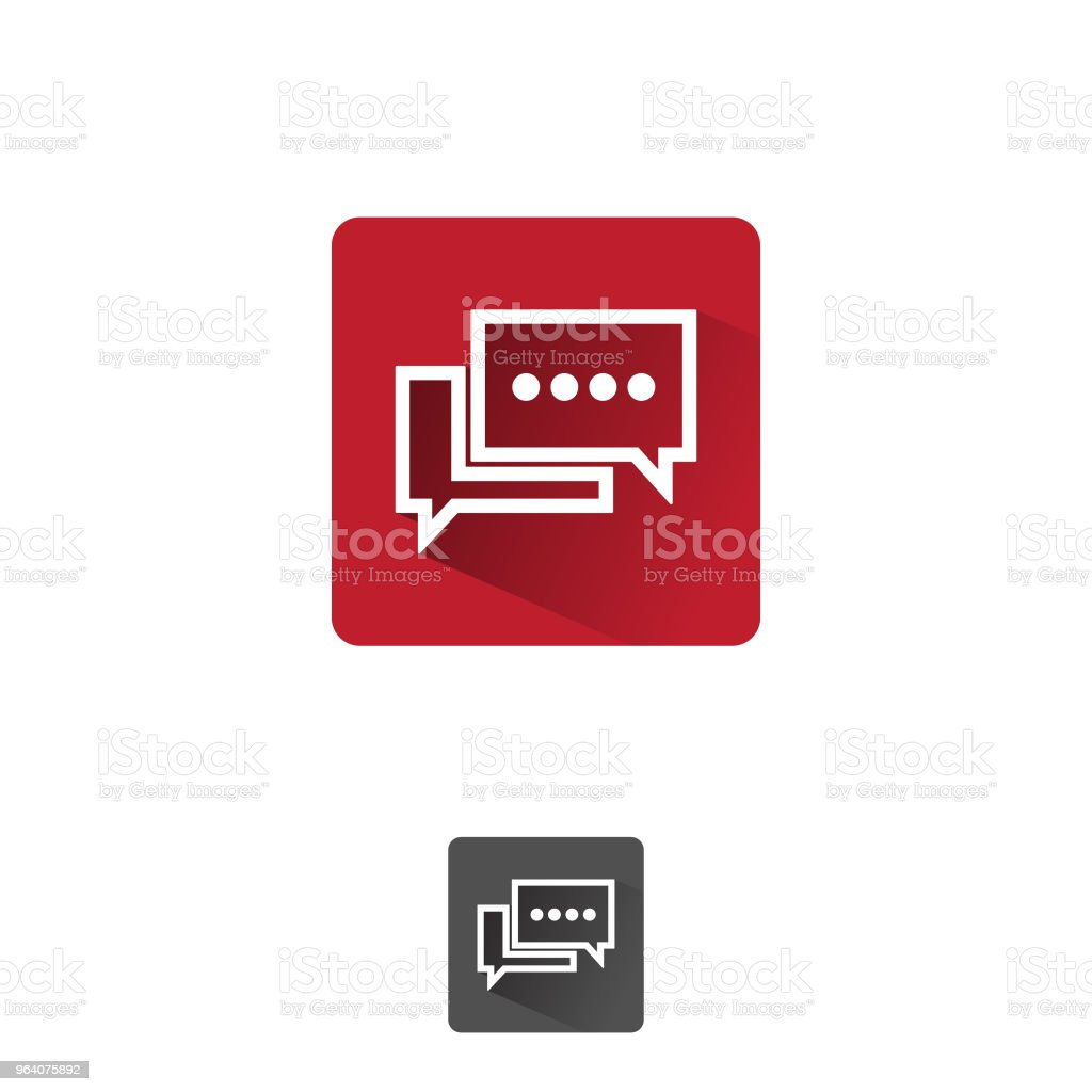 Creative, Bubble chat icon vector isolated on red square background - Royalty-free Abstract stock vector