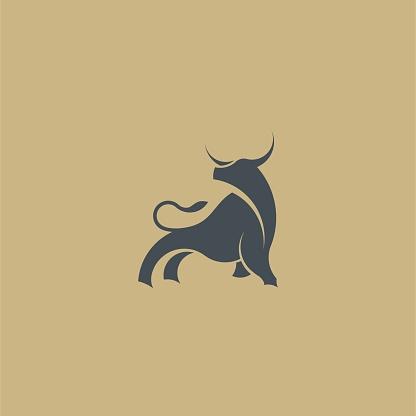 Creative Bull Silhouette Logo Illustration