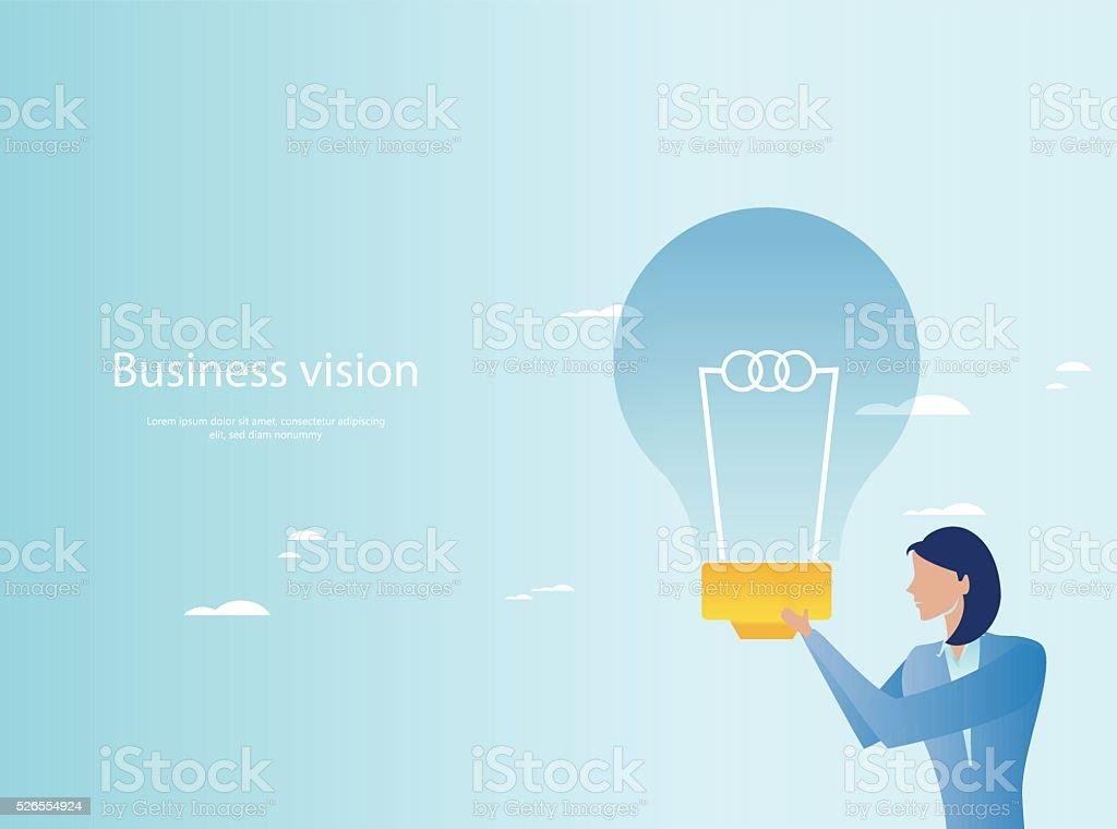 Creative business. Businesswoman holding light bulb vector art illustration