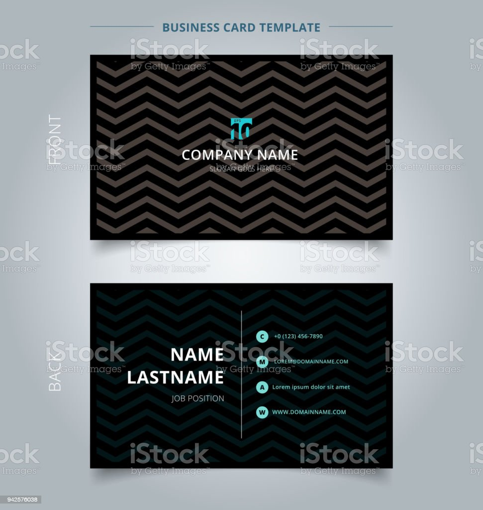 Creative Business Card And Name Card Template Chevron Pattern On