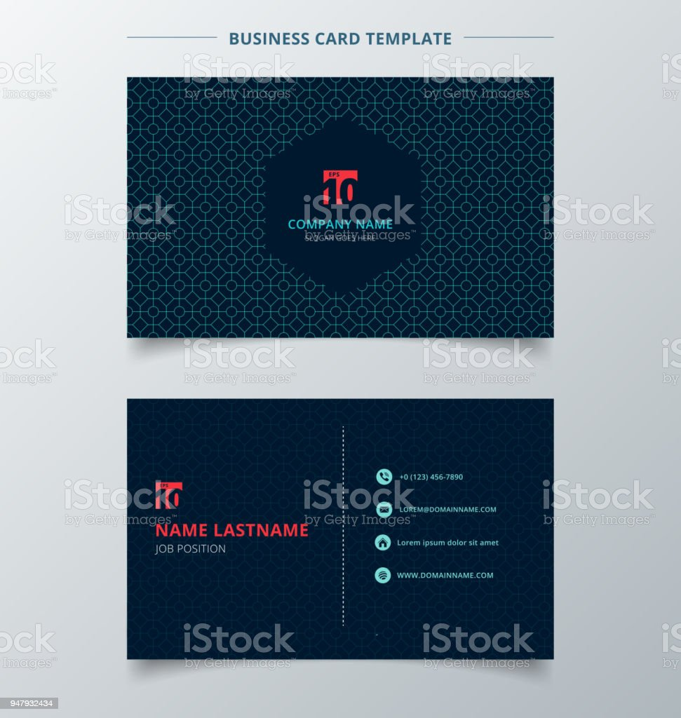 creative business card and name card template dark blue color modern