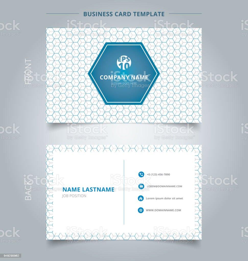 Creation Carte De Visite Et Le Nom Modele Geometrique Bleu Motif Hexagone Gris Se