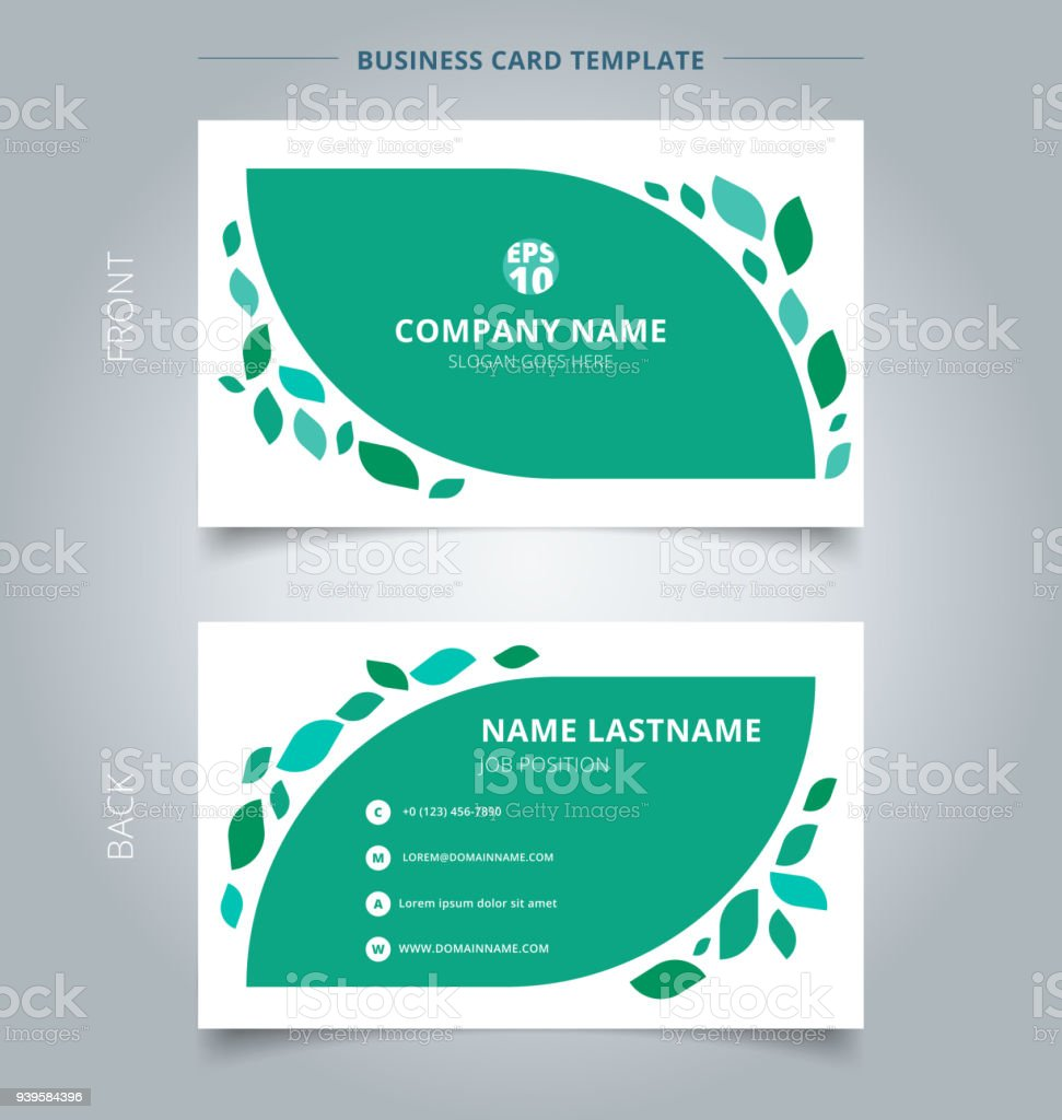 Creative business card and name card template graphic green leaves creative business card and name card template graphic green leaves pattern on white background royalty accmission Gallery