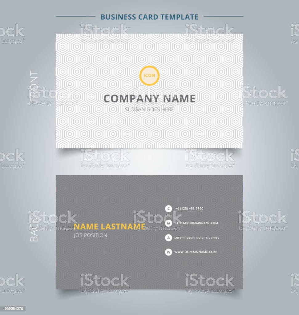 Creative Business Card And Name Card Template Gray Hexagon Pattern ...