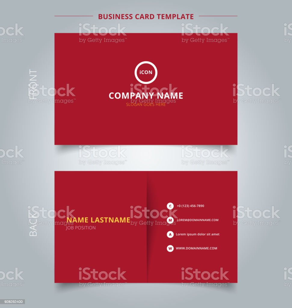 Creative Business Card And Name Card Template Red Color Background - Business card template paper