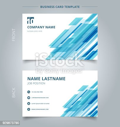 istock Creative business card and name card template technology diagonally overlapped geometric squares shape blue colour on white background. 929873790