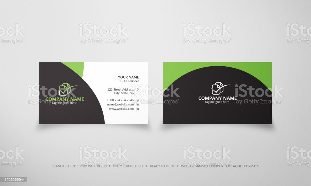 Creative Business Card Template With Green And Black Color Stock Illustration Download Image Now Istock