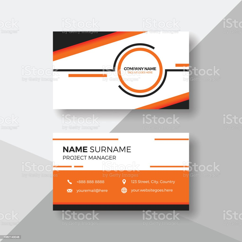 Carte De Visite Creative Avec Orange Details Vecteurs