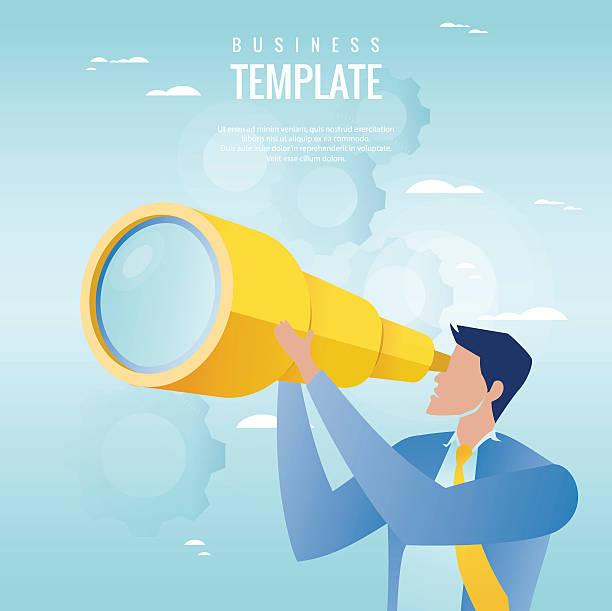 Creative business concept. Businessman holding spyglass, business visionary vector art illustration