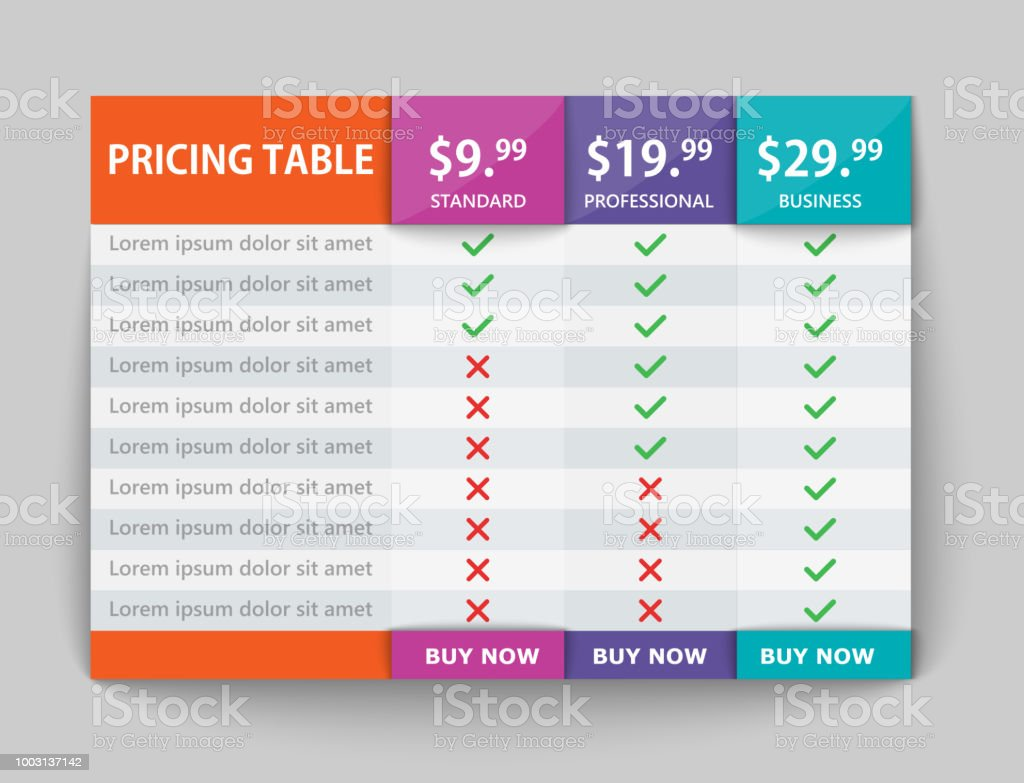 creative business plans web comparison pricing table design modern