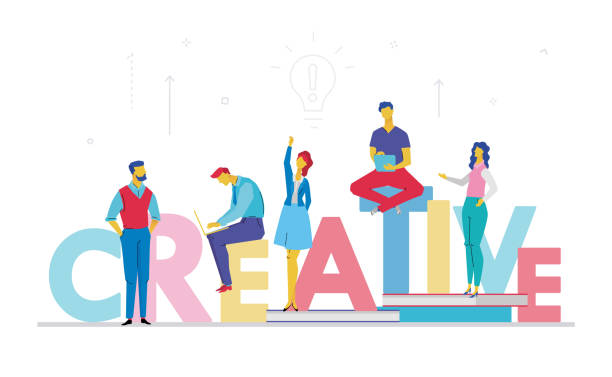 Creative business team - flat design style colorful illustration Creative business team - flat design style colorful illustration on white background. A composition with cute characters, office workers or businessmen searching for ideas. Bright capital letters travel agents stock illustrations