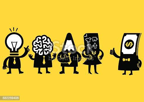 Creative business team (Bulb, Pencil, Brain, Plan) meeting their investor.