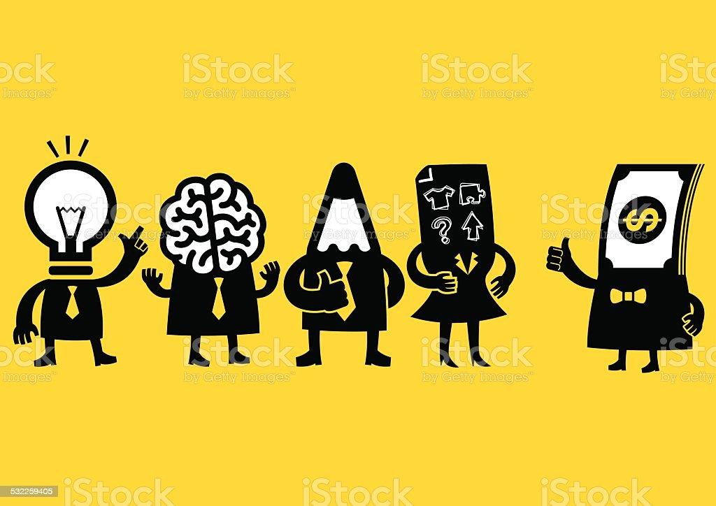 Creative Business Team & Investor | Yellow Business vector art illustration