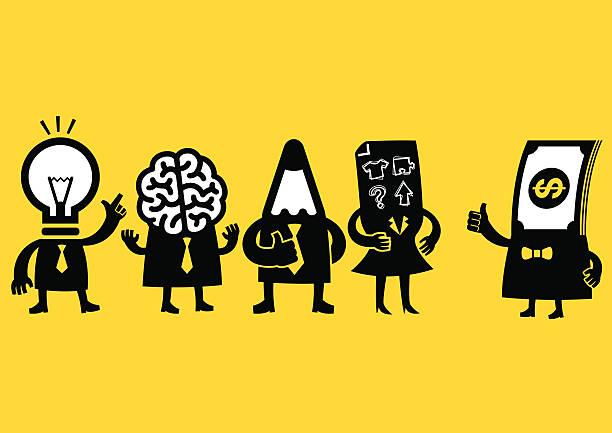 Equipe de negócios criativos & investidores/amarelo negócios - ilustração de arte em vetor