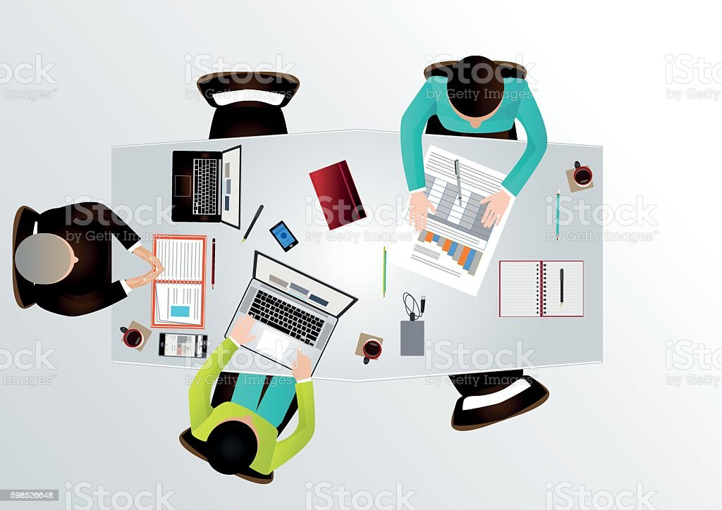 4cd7bbaf85a2 Creative Business Team Work Meeting Concept Top View Stock Vector ...