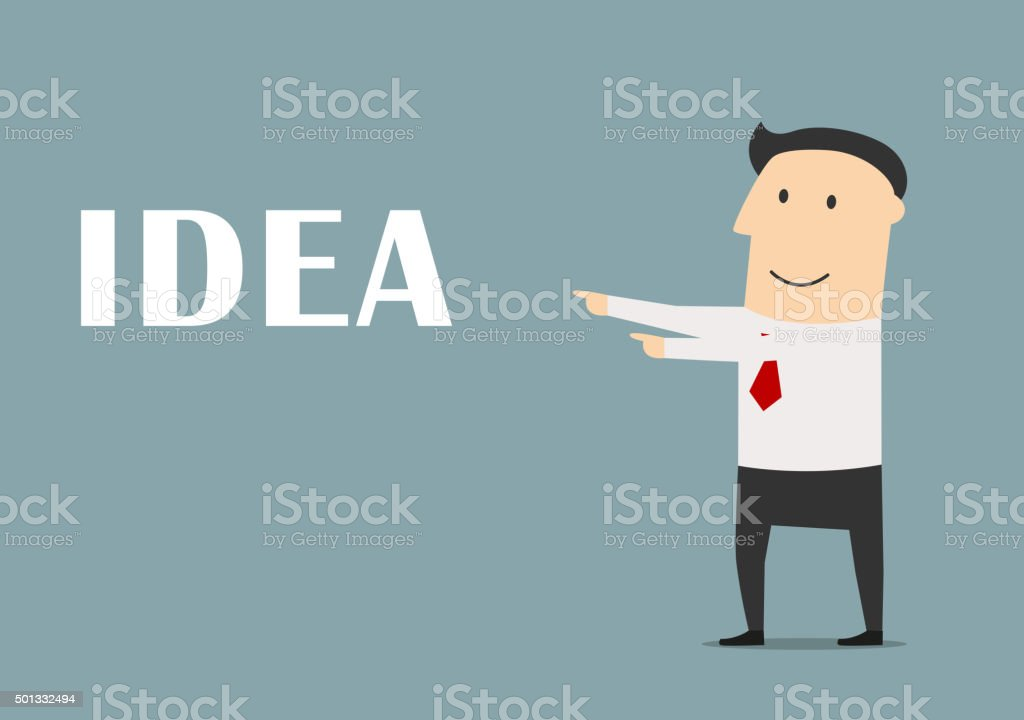Creative businessman pointing to idea vector art illustration