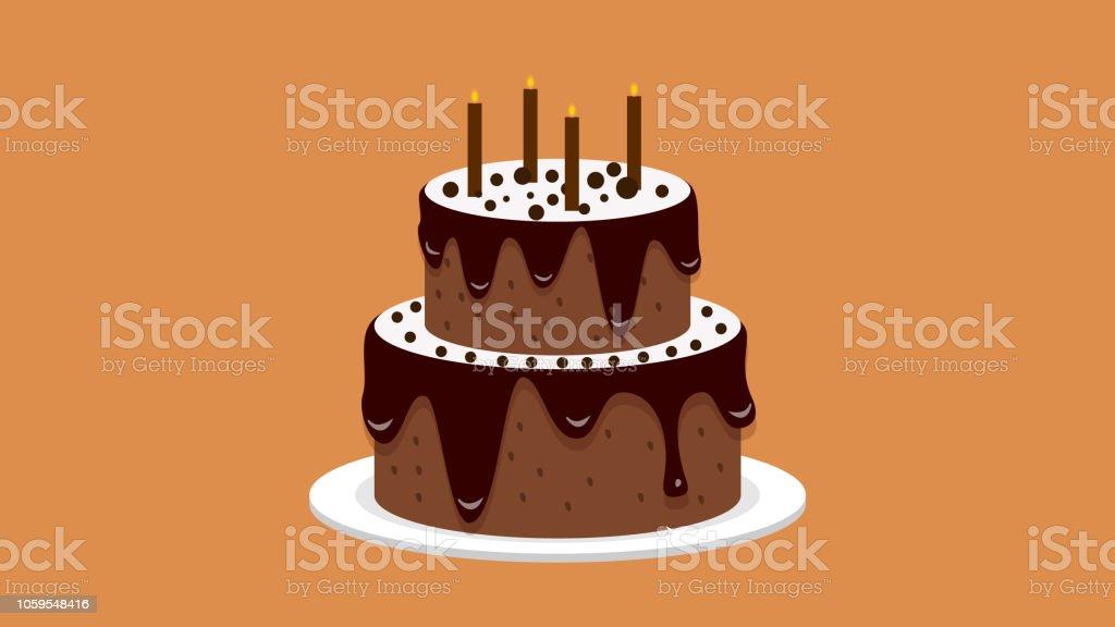 Kreative Kuchen Mit Kerzen Fur Geburtstagsymbol Stock Vektor Art Und