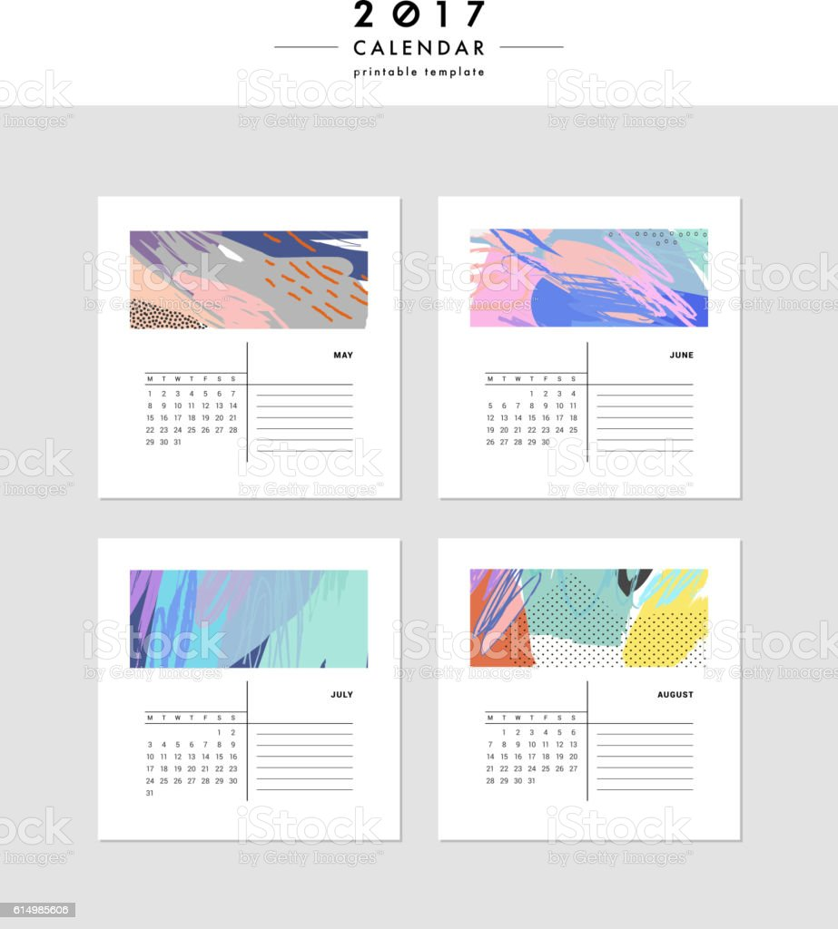 Creative Calendar 2017 Template With Different Textures Cliparts