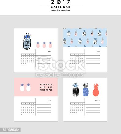 creative calendar 2017 template with different textures のイラスト