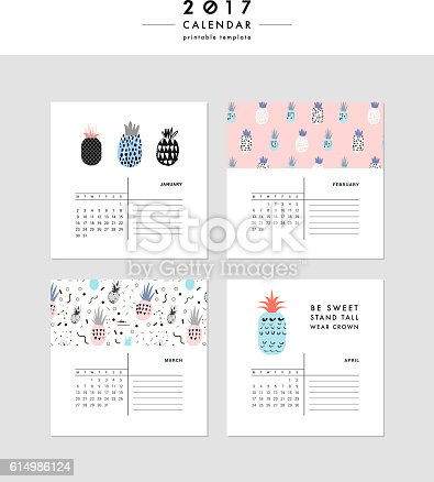 Creative Calendar 2017 Template With Different Textures Stock Vector