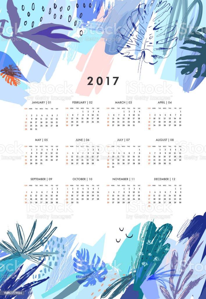 Creative Calendar 2017. Template with leaves and floral elements - ilustración de arte vectorial