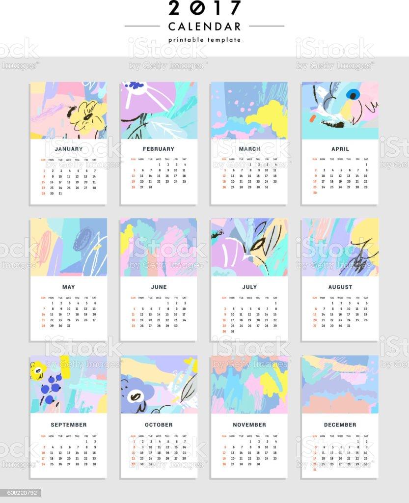 Creative Calendar 2017. Template with leaves and flowers. Vector - ilustración de arte vectorial