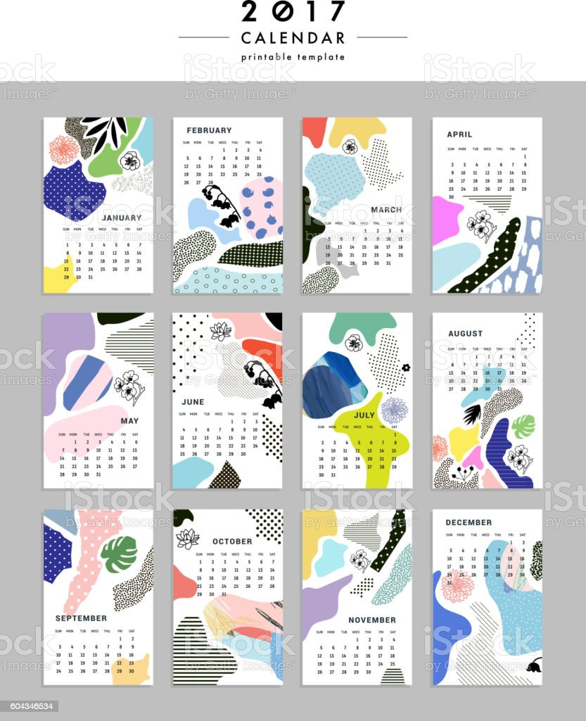 Calendar Illustration Board : Creative calendar templates with leaves flowers