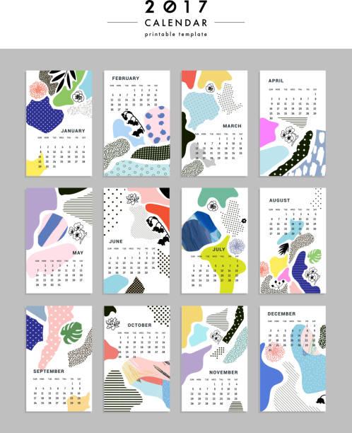 creative calendar 2017. templates with leaves, flowers . vector - blumenkalender stock-grafiken, -clipart, -cartoons und -symbole