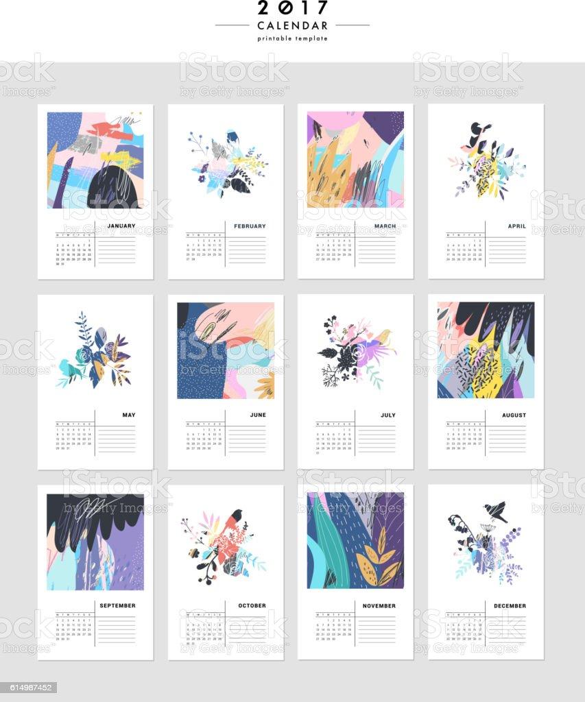 Creative Calendar 2017. - ilustración de arte vectorial