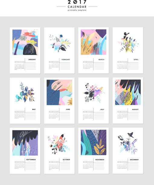 ilustraciones, imágenes clip art, dibujos animados e iconos de stock de creative calendar 2017. - calendario de flores