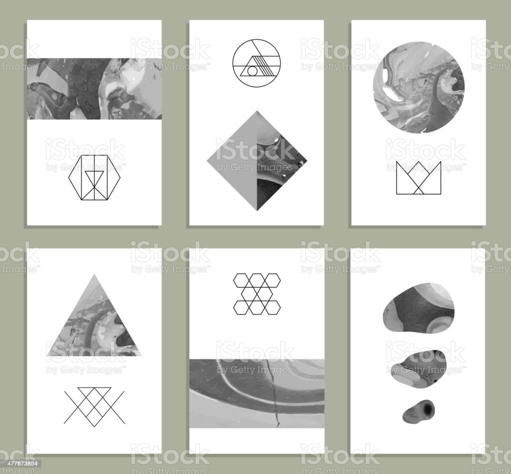 Creative cards. Abstract painting templates with hipster logotypes. vector art illustration