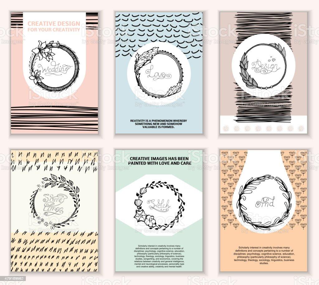 Creative Cards vector art illustration