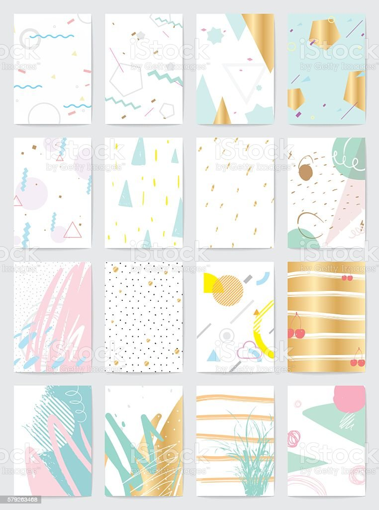 Creative cards with abstract geometric backgrounds vector art illustration