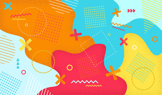 Creative cartoon color splash background with geometric shapes. Abstract pattern in retro 80s-90s style. Vector illustration colorful spotty pattern with lines and dots.