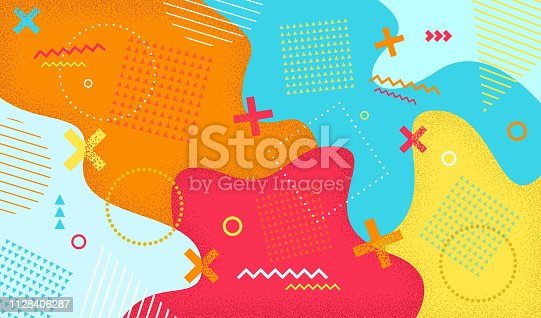 Creative cartoon color splash background with geometric shapes. Abstract pattern in retro 80s-90s style.