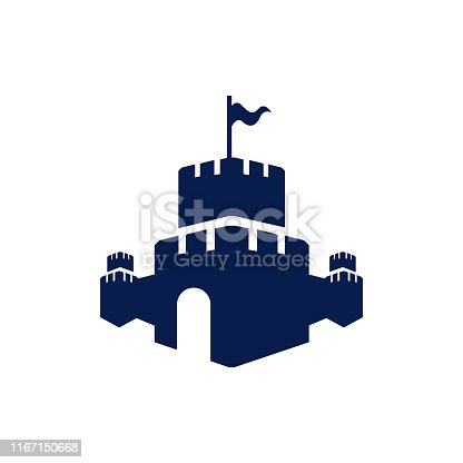 Creative Castle fortress  vector design icon template